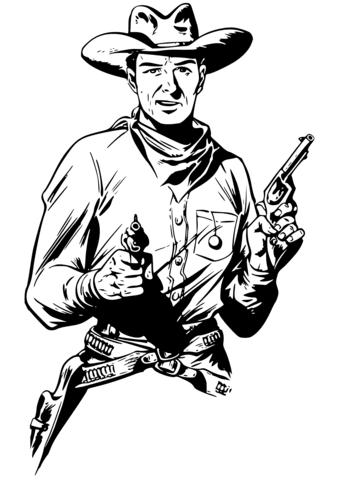 Dibujo De Vaquero Con Dos Armas Para Colorear Dibujos Para