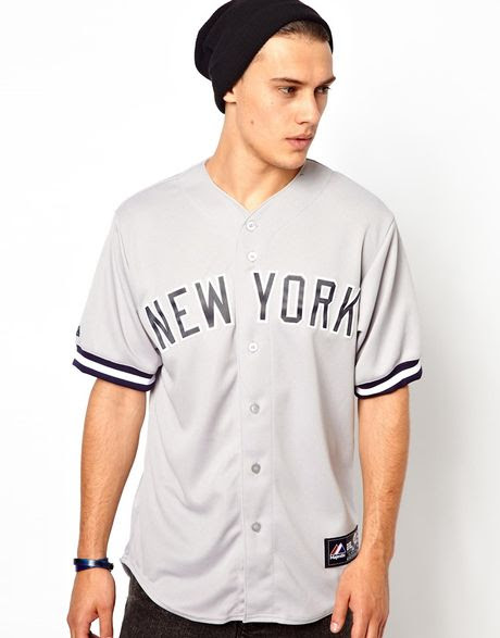 majestic ny yankees baseball jersey in gray for men grey