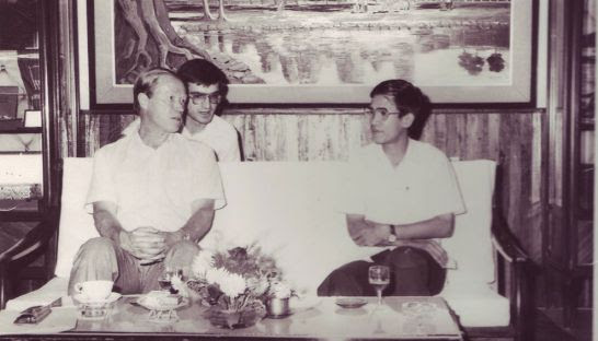 OlegSamorodni translating Hun Sen's comments for Igor Rogachev, the deputy foreign minister of the USSR in the late 1980s. Photo supplied