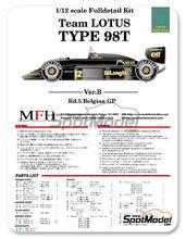 Maqueta de coche 1/12 Model Factory Hiro - Lotus Renault 98T John Player Special - Nº 11, 12 - Gran Premio de Belgica 1986 - kit Multimaterial