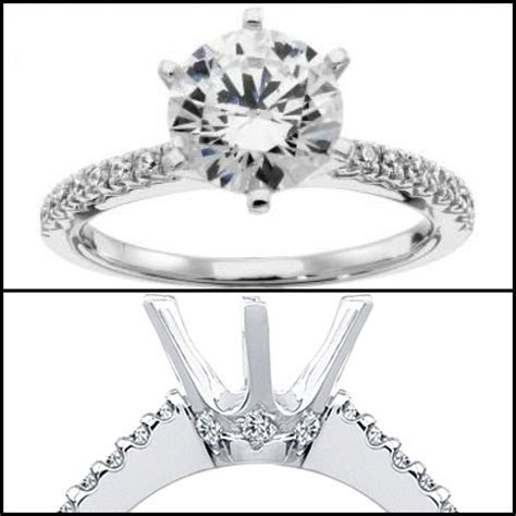 Six Prong Pave Diamond Engagement Ring: Round brilliant