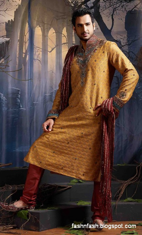 Kurtas Designs-Men-Male New Latest Silk-Cotton Kurta Style Design Collection1