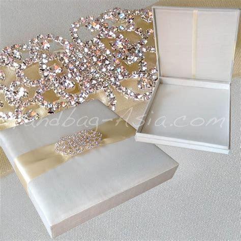 Luxury Ivory Silk Wedding Box With Large Crystal Brooch