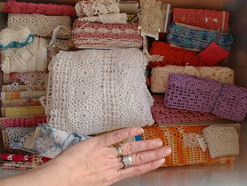 handmade lace box hand for size reference