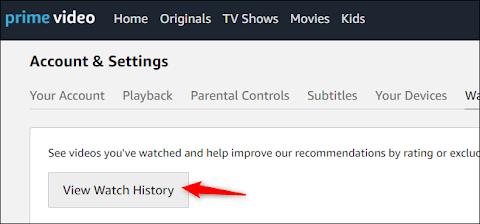 Delete Amazon Prime Video History