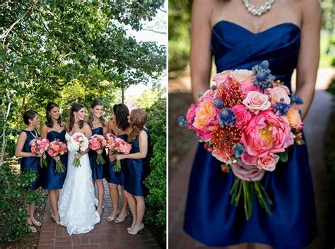 pink navy coral bouquet Kacie & Andrew   A Jepson Center