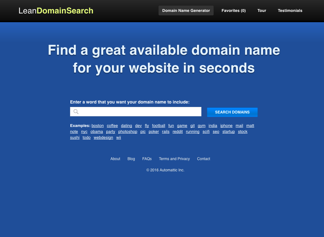 Find a great domain name