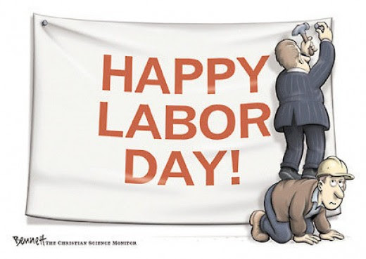 Cartoon: Executive hanging a 'happy labor day' sign while standing on the back of a laborer