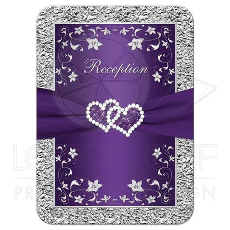 Wedding Enclosure Card   Purple, Silver Floral, FAUX Foil