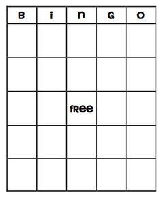 Bingo Board template, could fill it with things to do once they ...