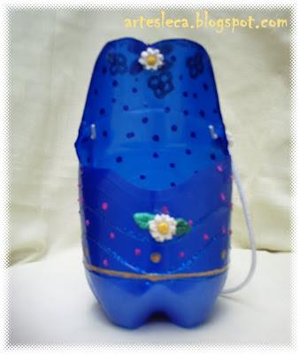 Bolsa de Garrafa PET Azul aberta