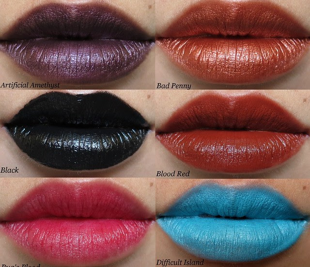 Portland Black Lipstick Company Swatches Collage