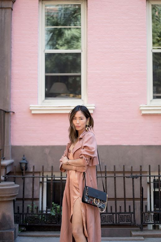 Le Fashion Blog Statement Earrings Blush Dress Blush Trench Jacket Embroidered Bag Via Song Of Style