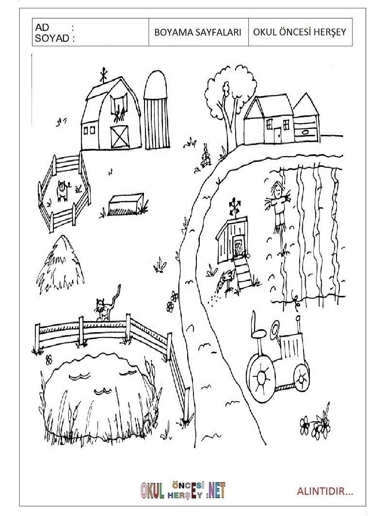 çiftlik Boyama Sayfaları