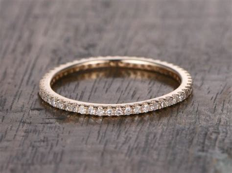 Full Eternity Band,Diamond Wedding Ring,Solid 14K Rose