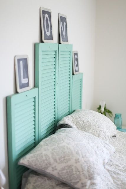 DIY Vintage Shutter Headboard ... may look great with the beachy theme in our bedroom... .don't think i would put the letters above it but i love the shutters... not limited to headboard either..the shutters may even look great as wall decor!
