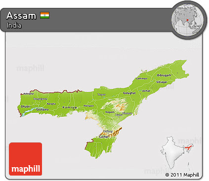 Physical 3D Map of Assam, Physiographic Map Assam
