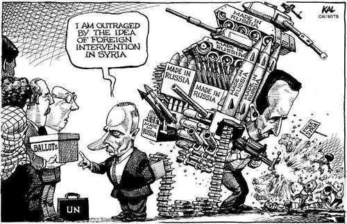 Putin on foreign intervention in Syria.