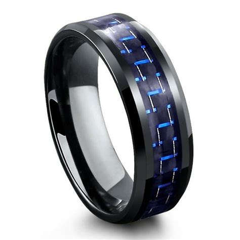 Black Tungsten Carbide Ring With Blue & Black Carbon Fiber
