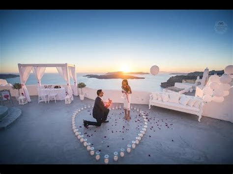 Amazing Wedding Proposal in Santorini, Greece   YouTube