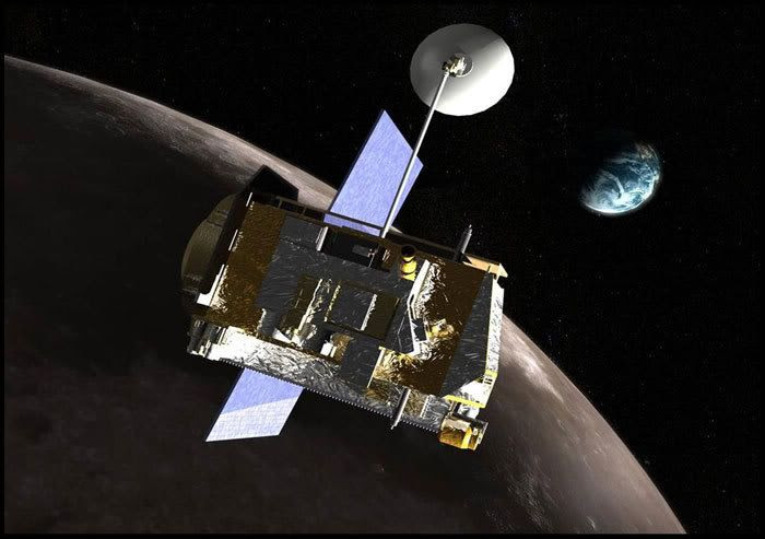 Artist's concept of the Lunar Reconnaissance Orbiter circling above the Moon.