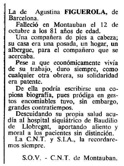 """Necrològica d'Agustina Llonga Agramont apareguda en el periòdic tolosà """"Cenit"""" del 18 de desembre de 1984"""
