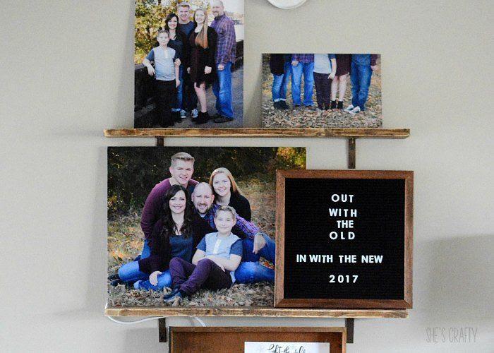 shelves to hold family photos art, diy