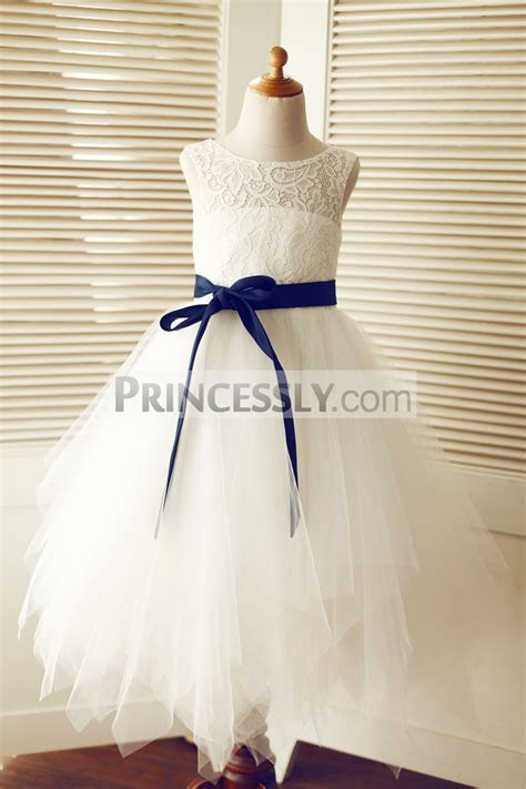 Keyhole Ivory Lace Tulle Uneven Hem Flower Girl Dress