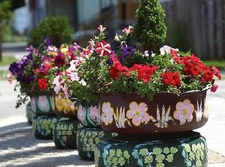 tutorial on making tire planters