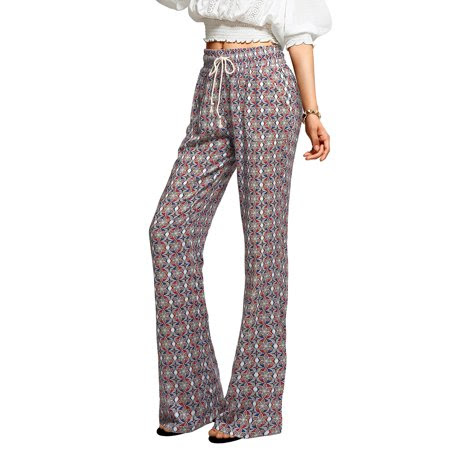 Allegra K Women's Floral Prints Four Pockets Drawstring Waist Flare Pants Multicolor (Size M \/ 8)