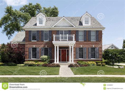 brick home  front balcony stock photo image