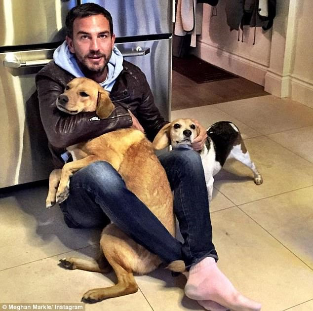 Markus (pictured above with Meghan's dogs) is a consultant for the Soho House Group and former global membership director at the exclusive club where he worked his way up from being a waiter to the right-hand man of founder Nick Jones