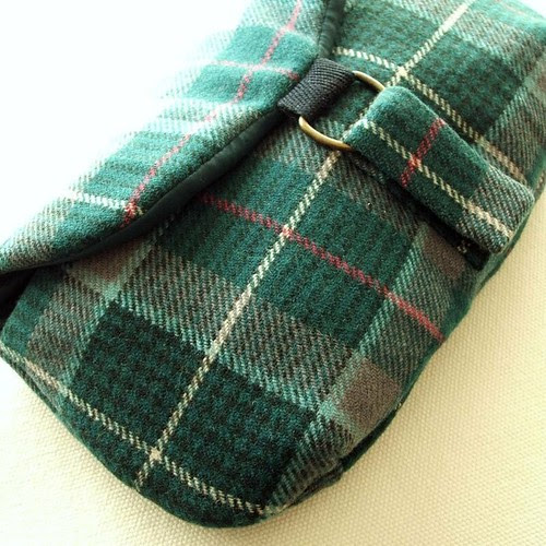 Bottle green recycled tartan clutch purse
