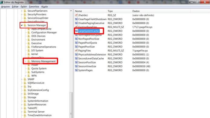"""Clique duas vezes no registro """"LargeSystemCache"""", exibido na coluna direita do Editor de Registro (Foto: Reprodução / Daniel Ribeiro)"""