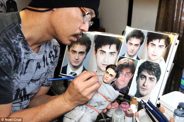 The artist at work: Noel Cruz working on Daniel Radcliffe's Harry Potter doll