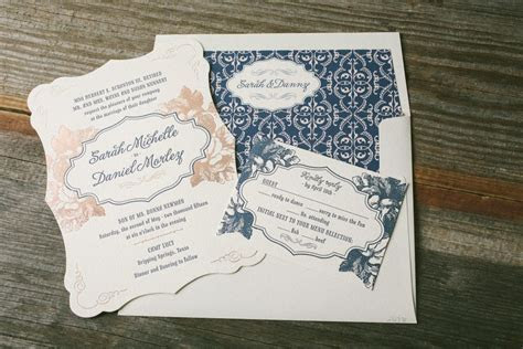 Navy and rose gold wedding invitations   Bella Figura