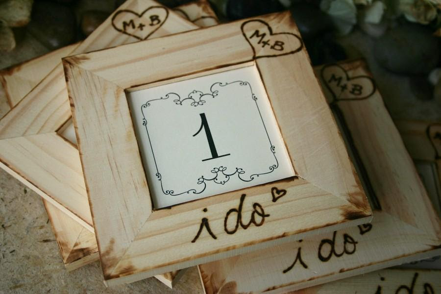 Rustic Wedding Personalized Table Number Frames Distressed Country