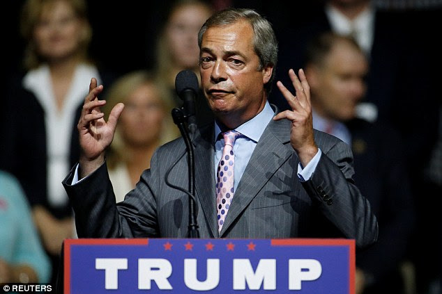 UK Independence Party leader Nigel Farage addressed a Donald Trump rally in Mississippi