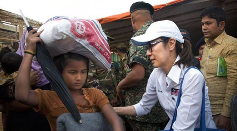 Rohingya, Muslim Rohingya, Hollywood star Michelle Yeoh, Michelle Yeoh, Yeoh, World News, Latest World News, Indian Express, Indian Express News