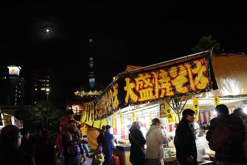 Stalls selling food in Senso-ji temple