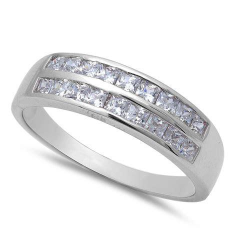Men's 1CT Princess Cut Fine CZ Wedding Band .925 Sterling