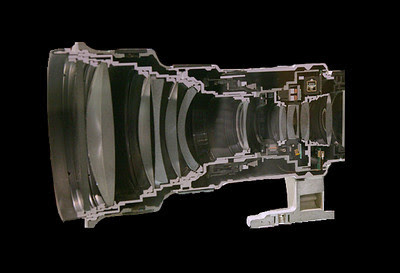 Lens cutaway view showing the lens elements