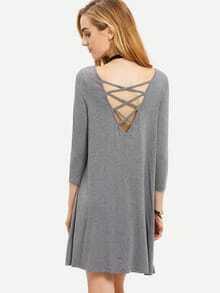 Grey Long Sleeve Backless Dress