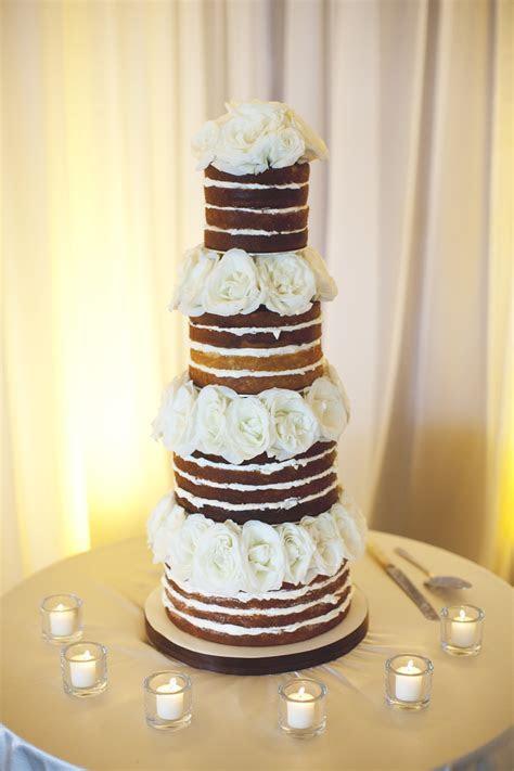 Unfrosted Wedding Cake With Fresh Flowers   Elizabeth Anne