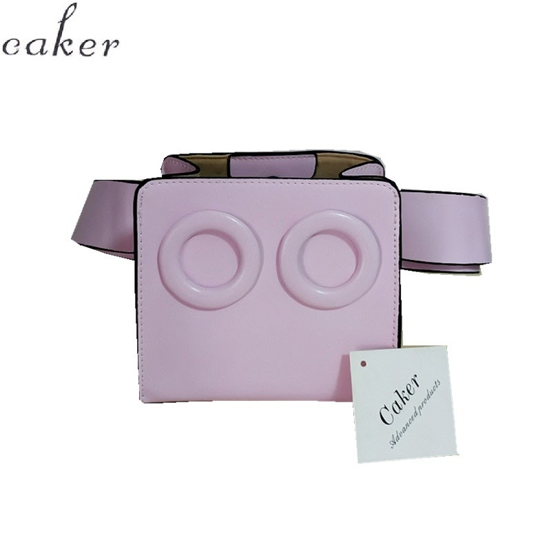 TOP !! Caker Brand 2018 Women PU Leather Waist Bags Pink Glasses Fanny Waist Pack Belt Chest Bags Drop Shipping
