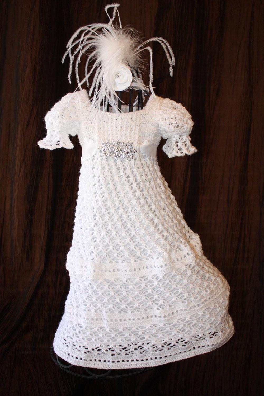 The Ava - Blessing / Christening Dress  Crochet Heirloom Christening Gown Baptism Confirmation