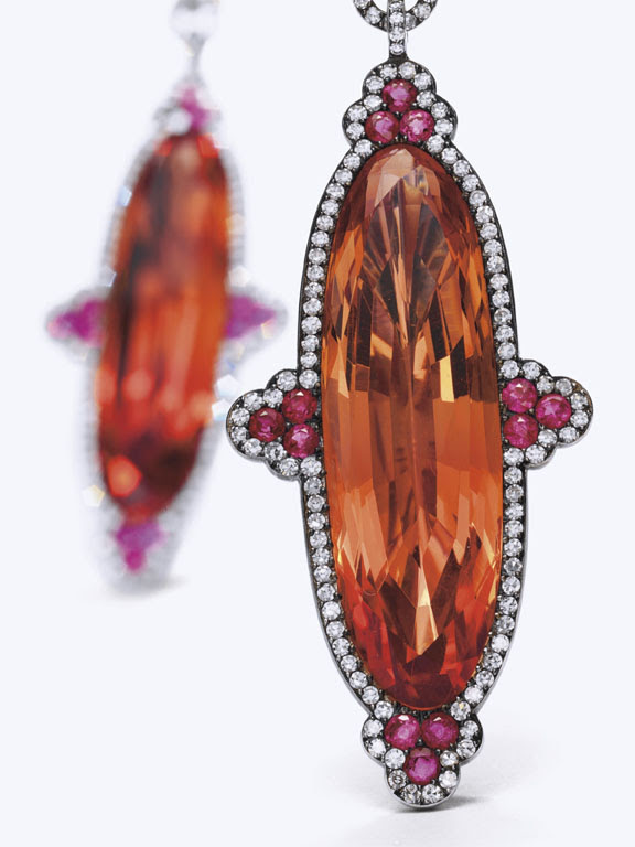 Topaz in diamond surround with ruby accents by JAR (Christie's Images)