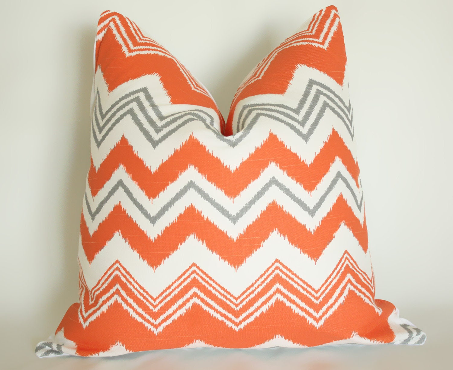 18x18 Orange Gray Chevron Pillow Cover