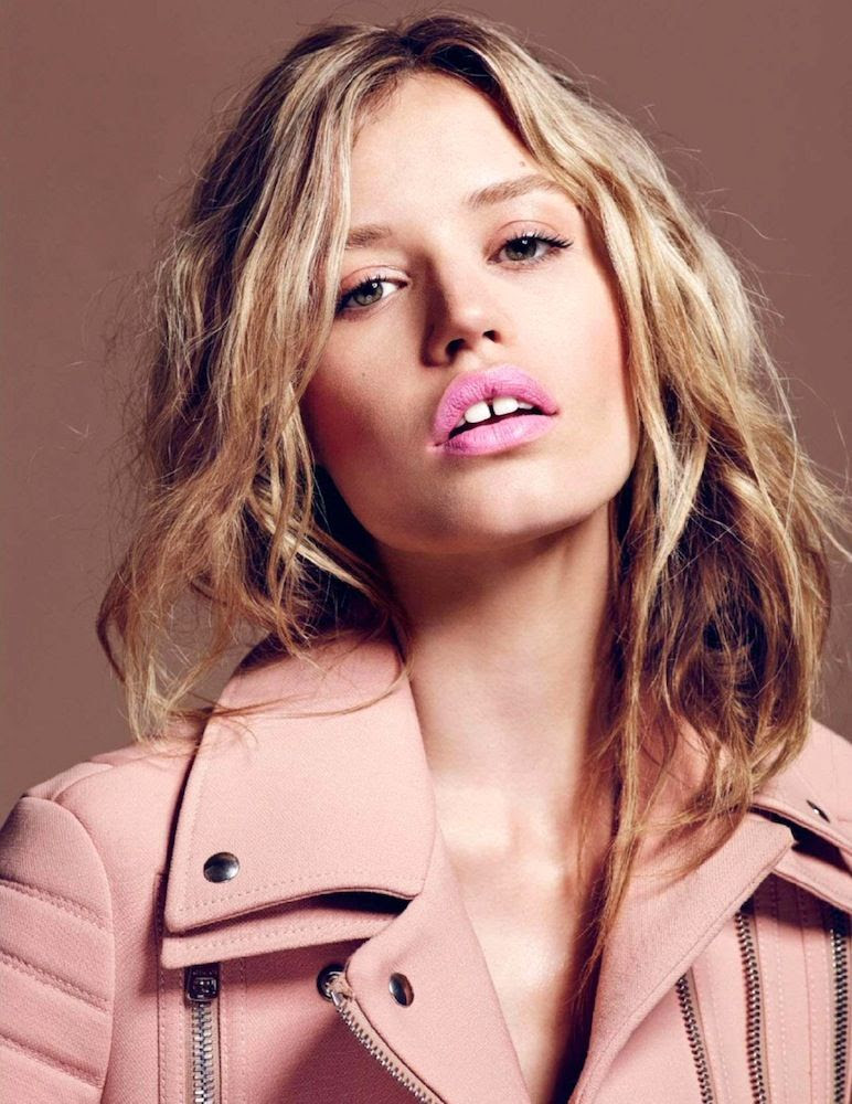 Le Fashion Blog -- Pretty In Pink: Georgia May Jagger in Clarins lipstick and a pink Gucci wool biker jacket For Elle France -- photo Le-Fashion-Blog-Pretty-In-Pink-Georgia-May-Jagger-Clarins-Lipstick-Gucci-Wool-Biker-Moto-Jacket-For-Elle-France.jpg