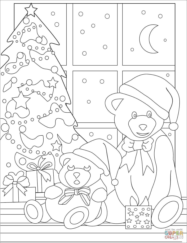 Cute Teddy Bears near Christmas Tree coloring page | Free ...